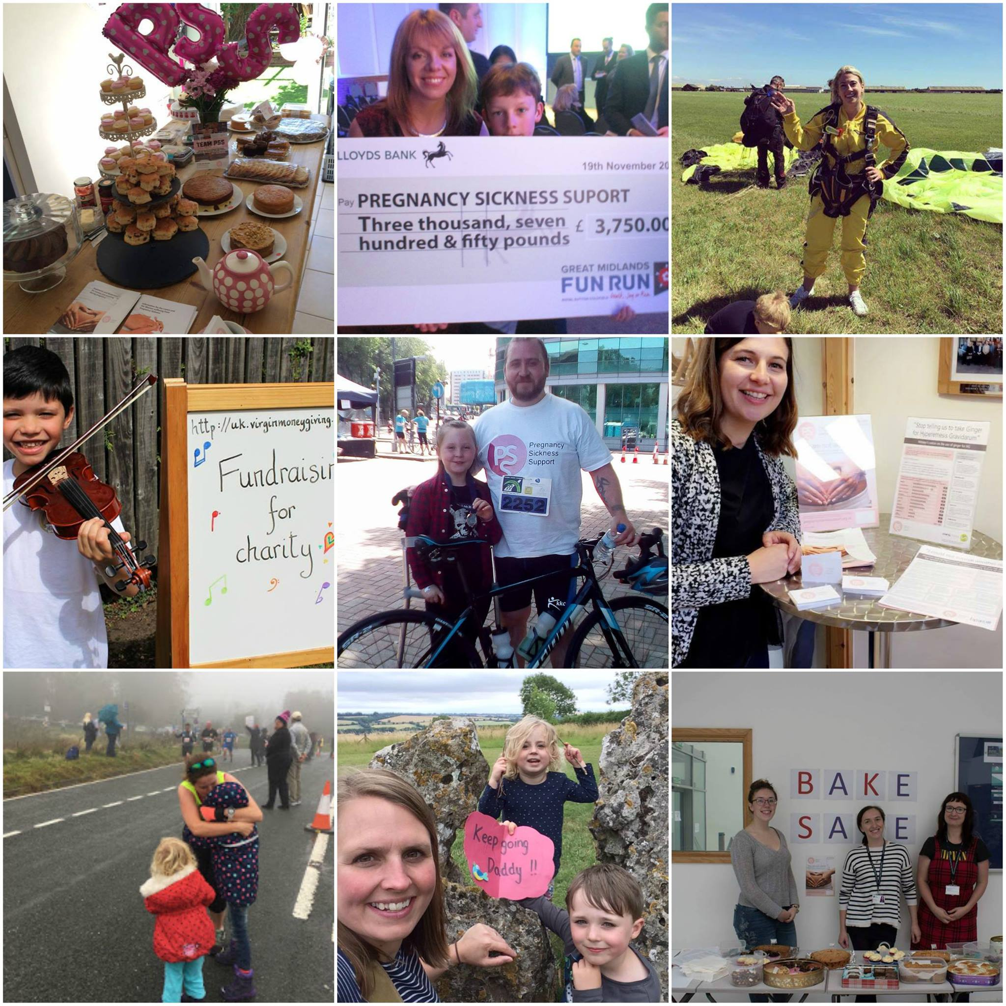 A photo montage of people fundraising for PSS