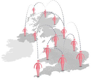 An illustration of the UK showing the coverage of our network